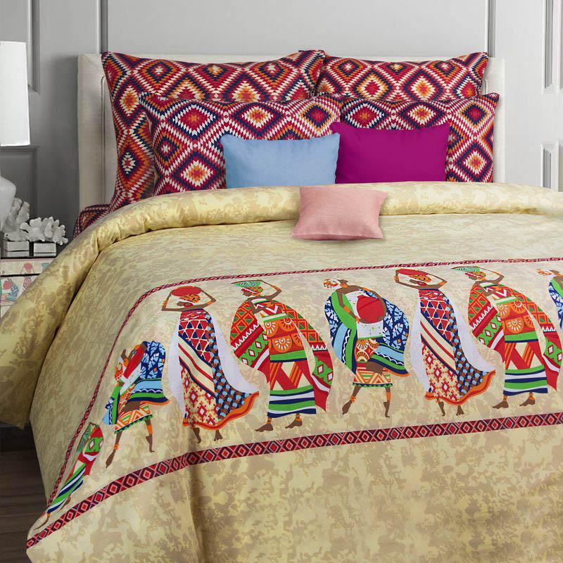 Комплекты постельного белья Mona Liza, Постельное белье Afrika (семейное), Россия, Бордовый, Желтый, Фиолетовый, Бязь  - Купить