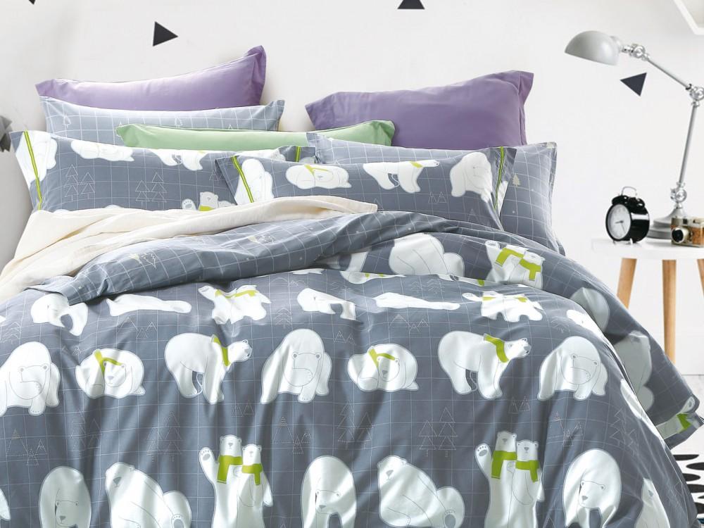 где купить Комплекты постельного белья Asabella Постельное белье Белый Мишка (2 сп. евро) по лучшей цене