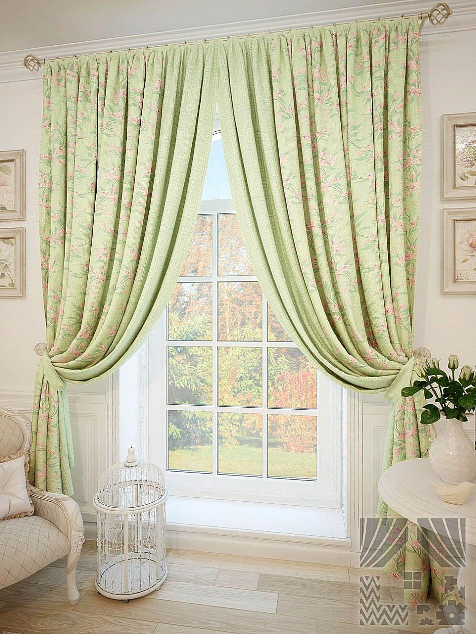 Купить Шторы ТомДом, Классические шторы Левус, Россия, Зеленый, Портьерная ткань