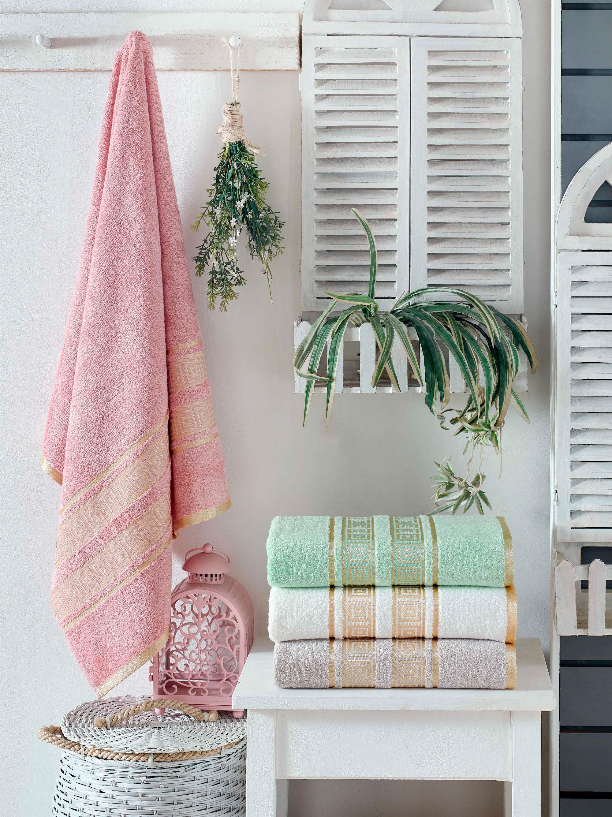 Купить Полотенца DO'n'CO, Полотенце Pansy (50х90 см - 4 шт), Турция, Белый, Зеленый, Розовый, Бамбук