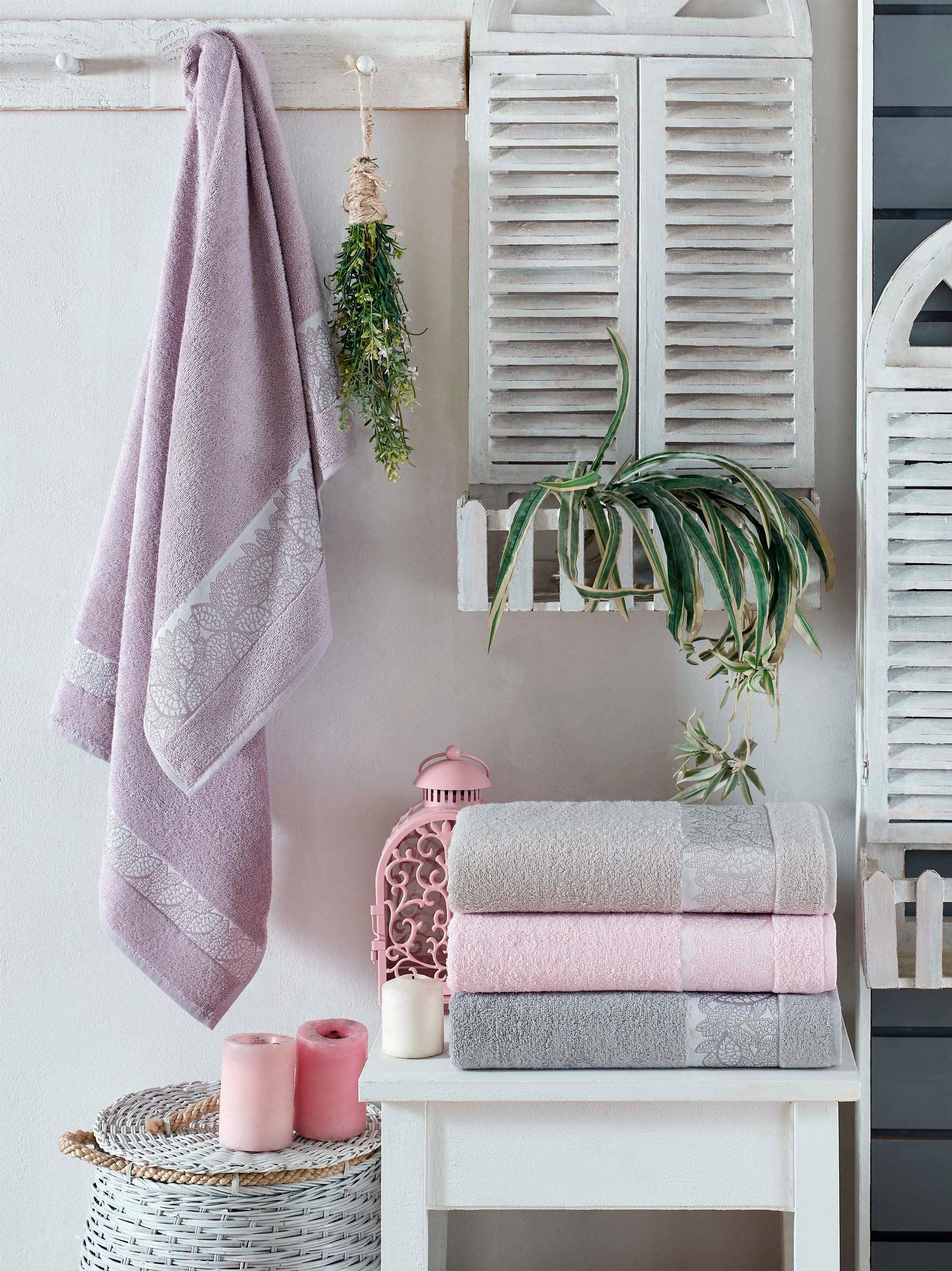 Купить Полотенца DO'n'CO, Полотенце Daisy (50х90 см - 4 шт), Турция, Розовый, Серый, Сиреневый, Бамбук