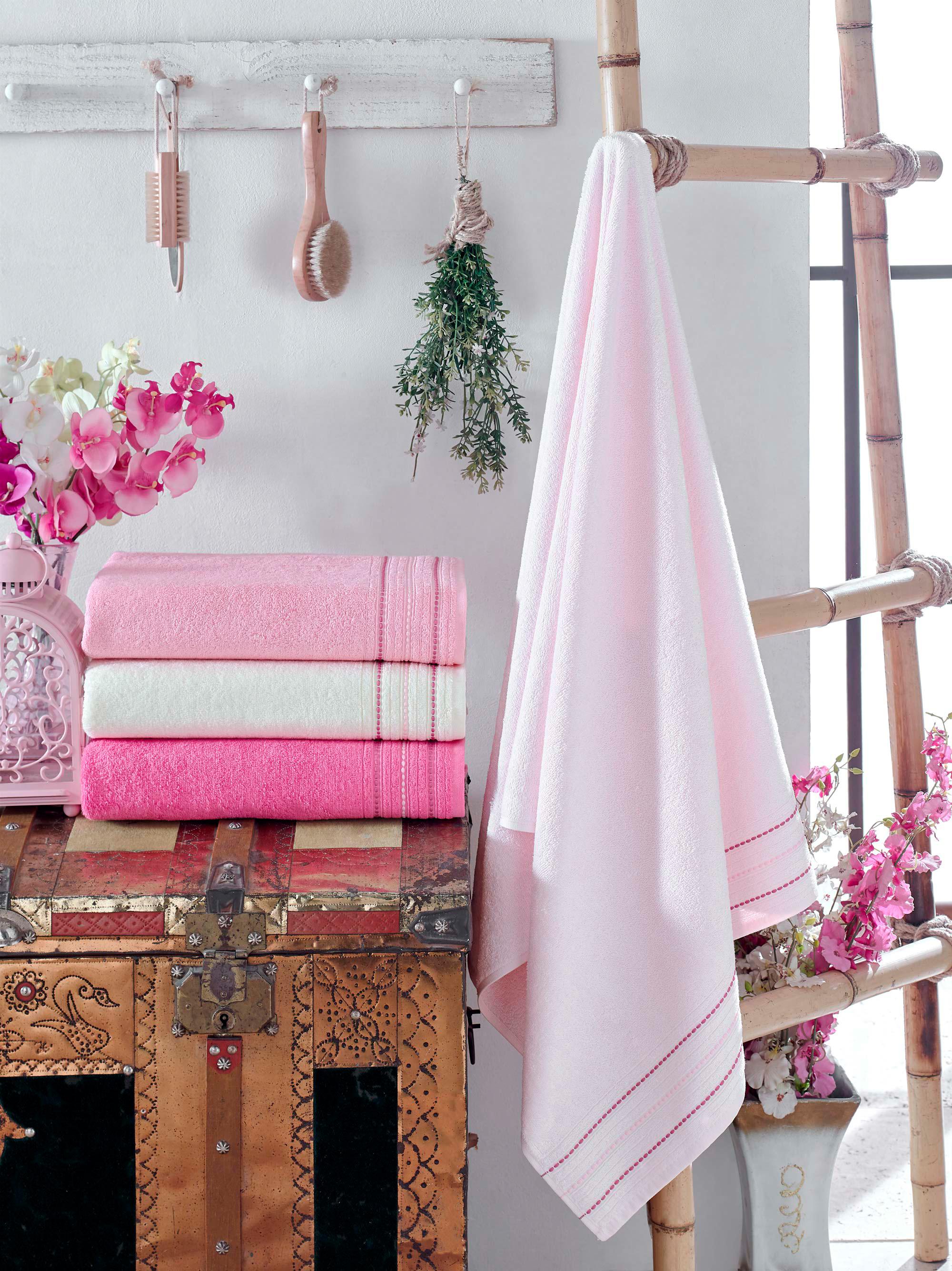Купить Полотенца DO'n'CO, Полотенце Adela (50х90 см - 4 шт), Турция, Розовый, Бамбук