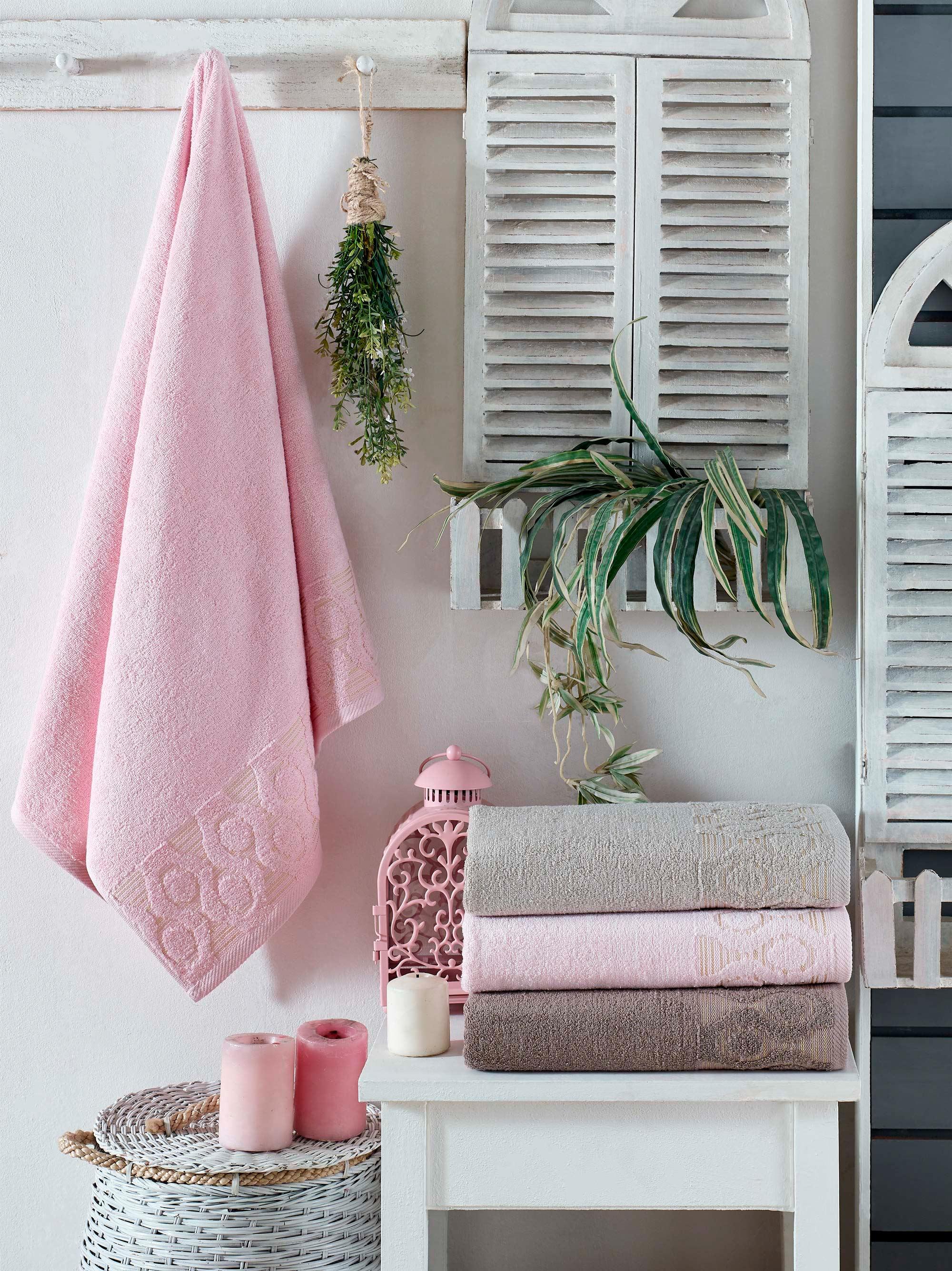 Купить Полотенца DO'n'CO, Полотенце Bonite (50х90 см - 4 шт), Турция, Кремовый, Розовый, Бамбук