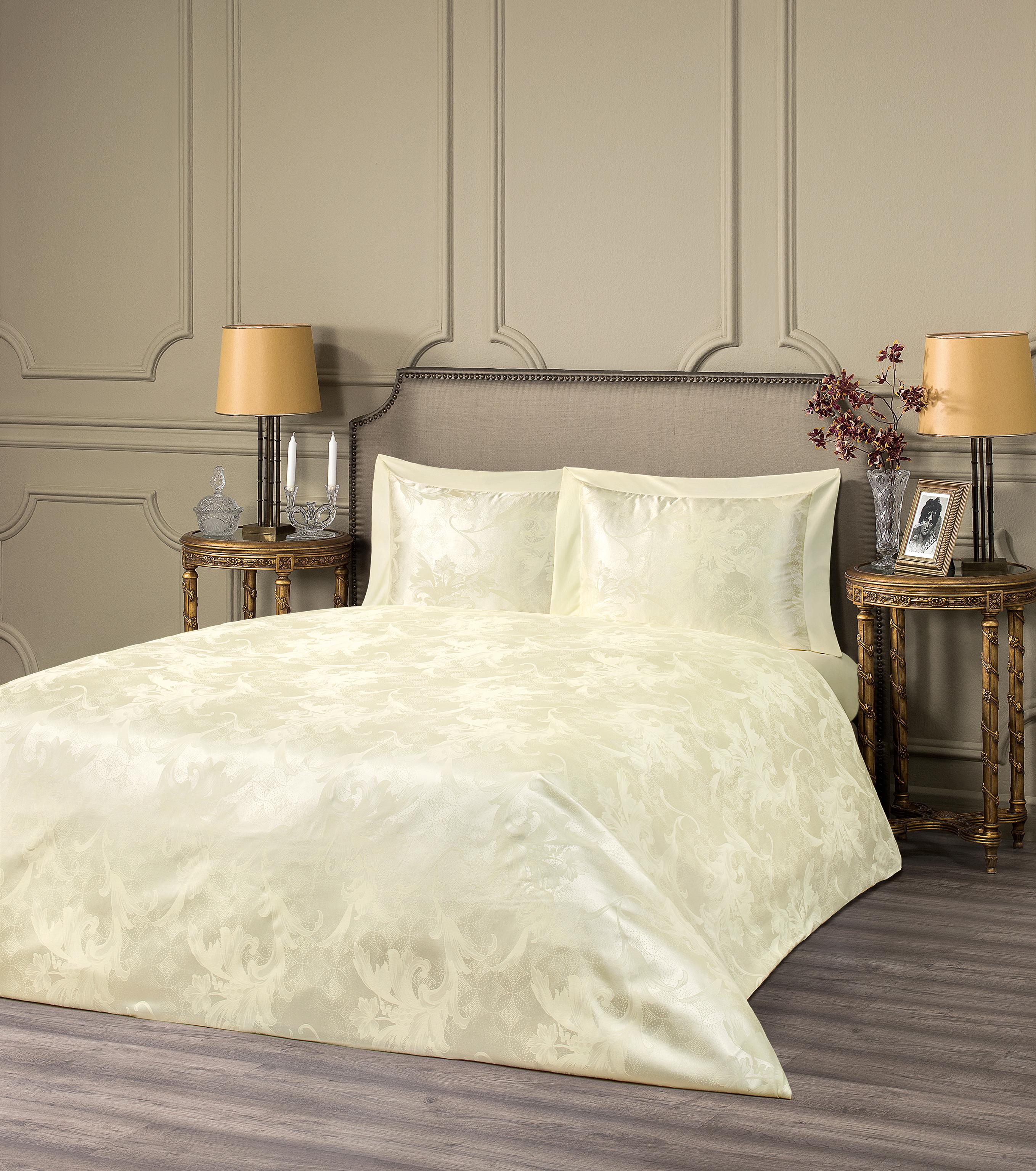 Купить Комплекты постельного белья ESTIA, Постельное белье Джоанна Цвет: Экрю (семейное), Греция, Вискозный сатин