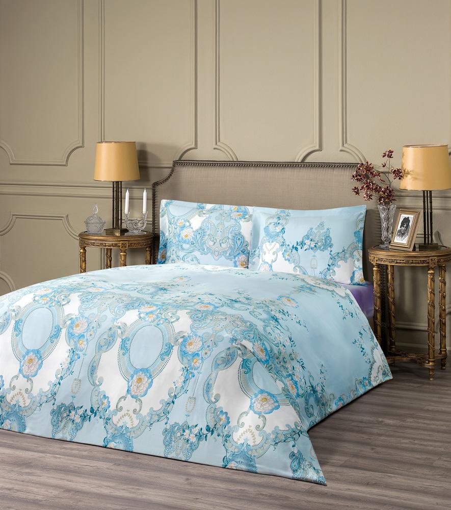 Купить Комплекты постельного белья ESTIA, Постельное белье Джардини Цвет: Голубой (2 сп. евро), Греция, Тенсел (эвкалипт)