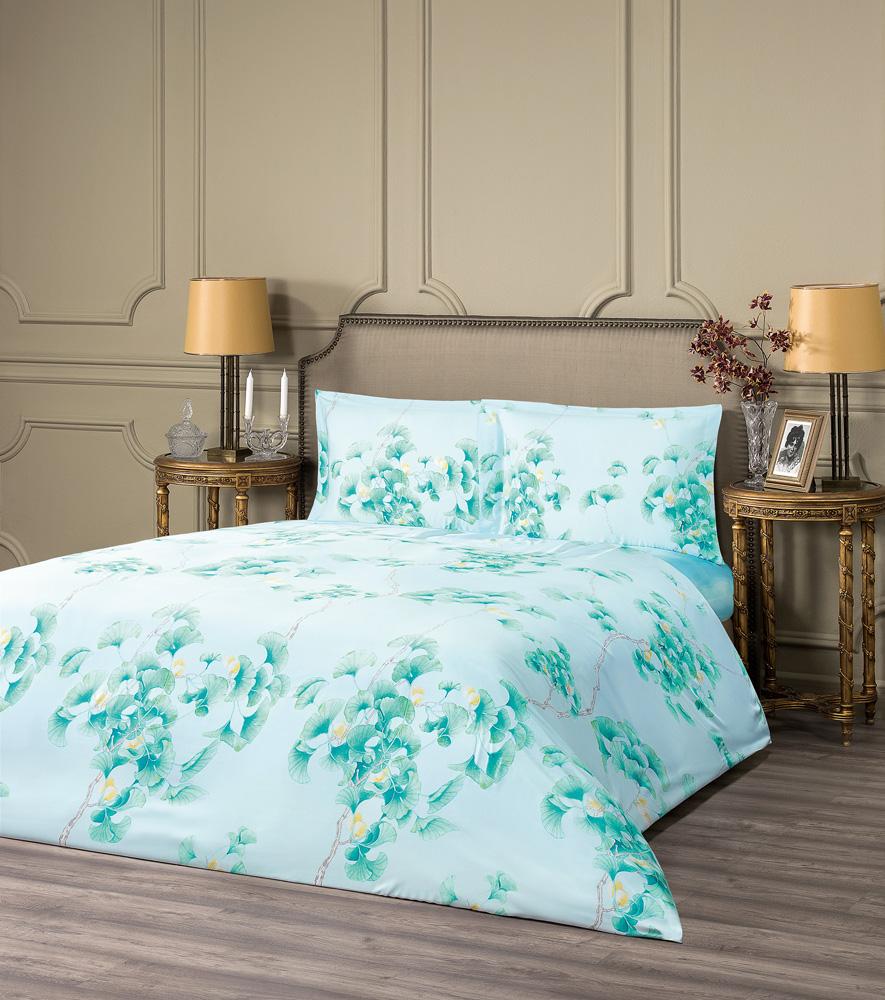 Купить Комплекты постельного белья ESTIA, Постельное белье Авеллино Цвет: Зеленый (2 сп. евро), Греция, Тенсел (эвкалипт)
