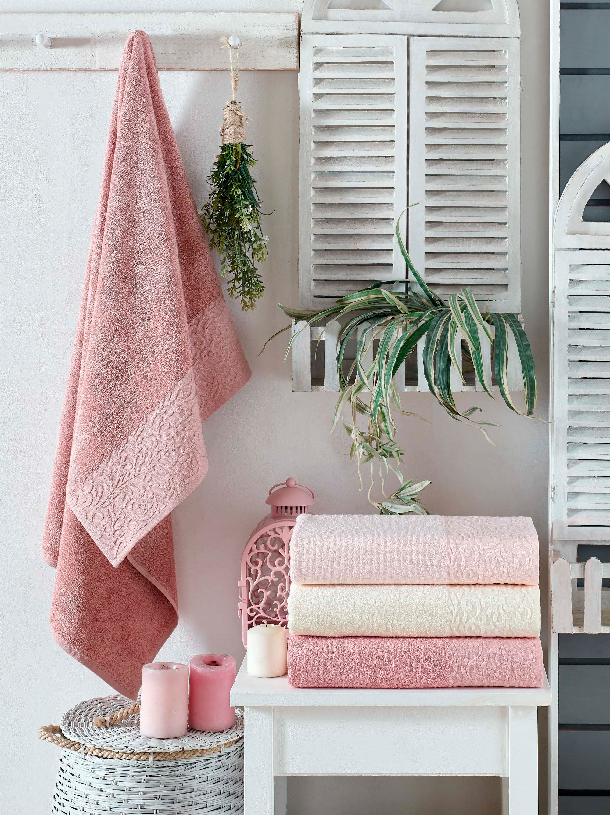 Купить Полотенца DO'n'CO, Полотенце Angelica (50х90 см - 4 шт), Турция, Белый, Розовый, Бамбук