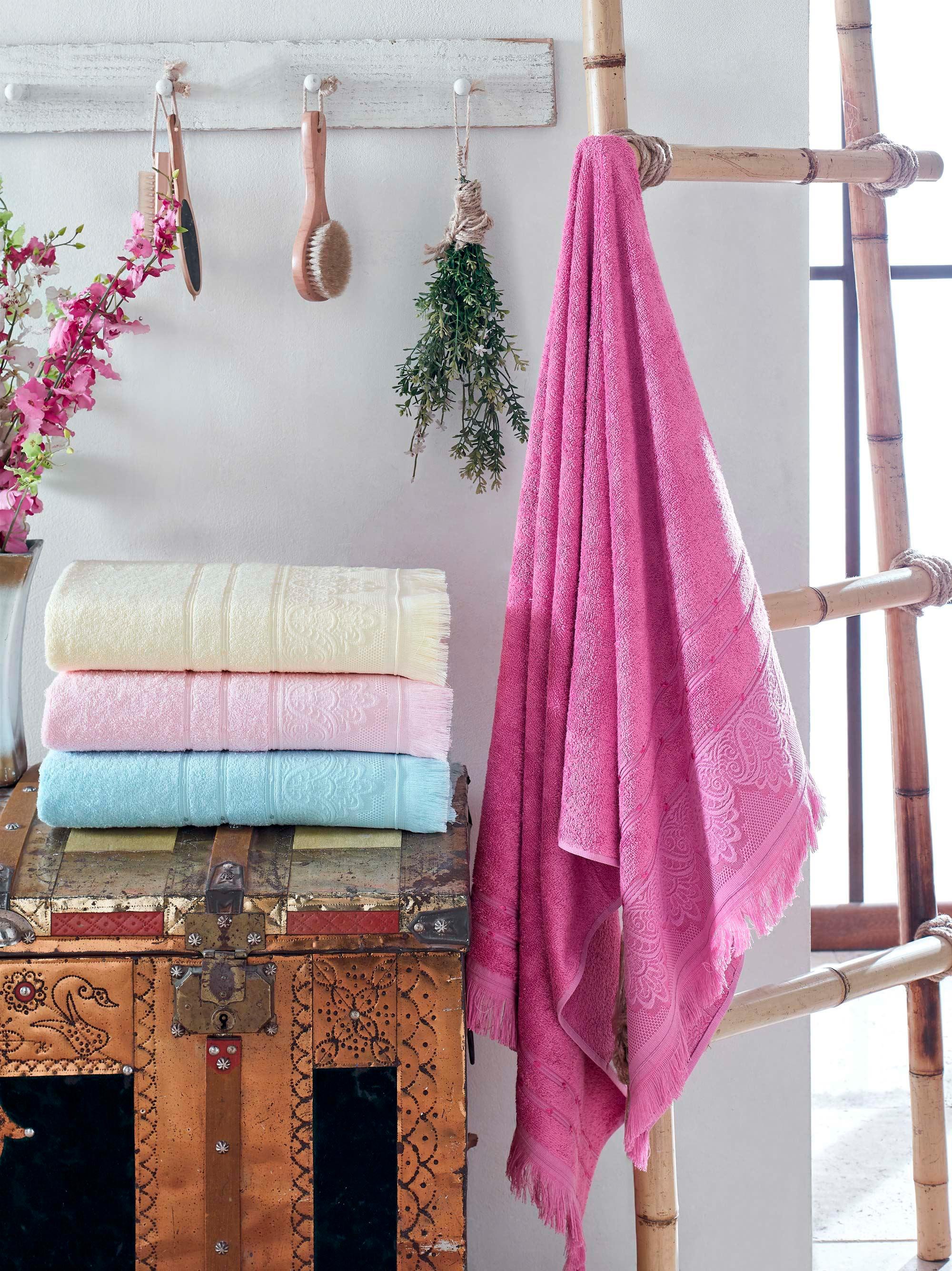 Купить Полотенца DO'n'CO, Полотенце Lavender (50х90 см - 4 шт), Турция, Желтый, Розовый, Бамбук