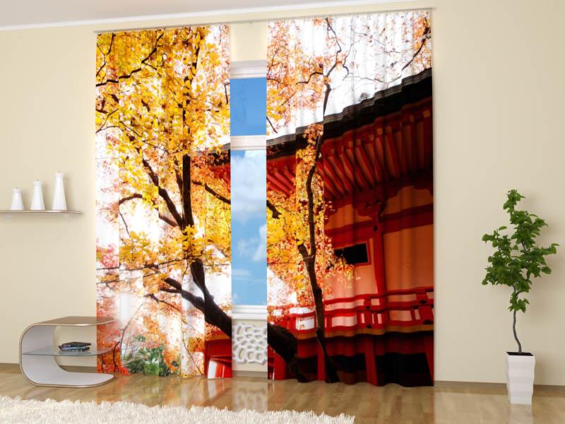 Шторы StickButik Фотошторы Осенний Киото