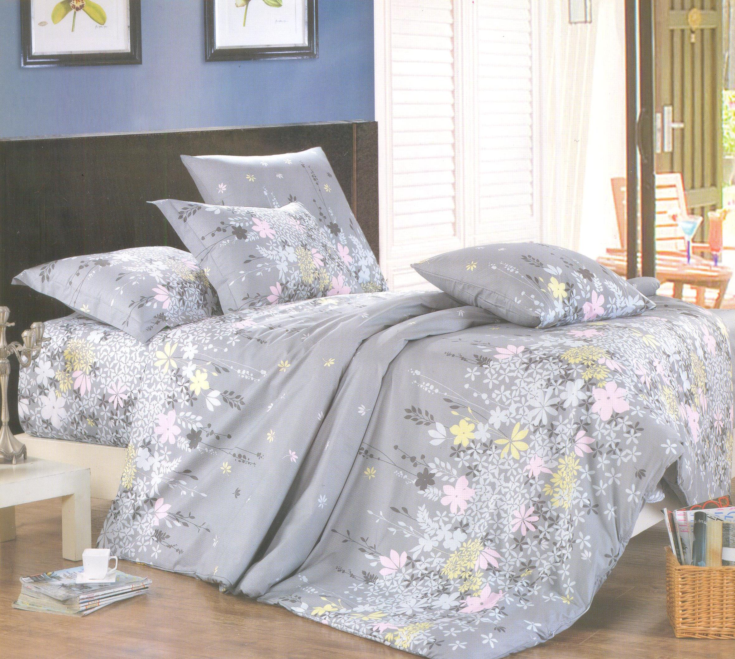 Купить Комплекты постельного белья СайлиД, Постельное белье Kramfors А/s-148 (2 сп. евро), Китай, Серый, Сиреневый, Поплин