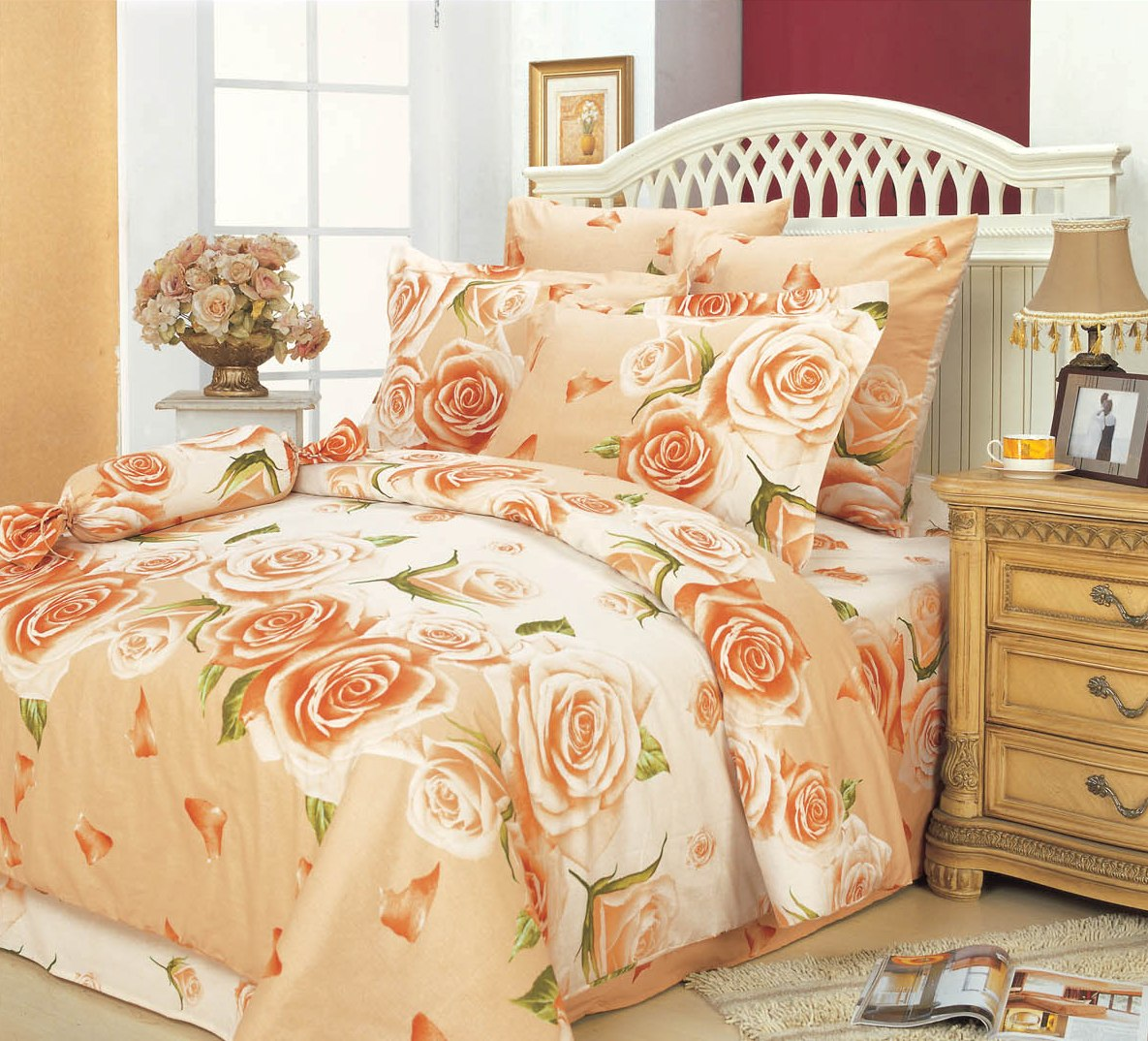 Купить Комплекты постельного белья СайлиД, Постельное белье Elif А/s-68 (2 сп. евро), Китай, Персиковый, Поплин