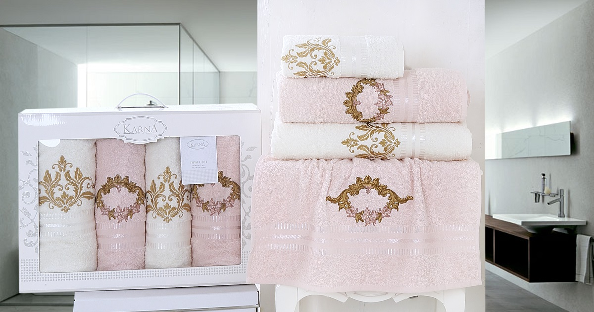Купить Полотенца Karna, Полотенце Karen Цвет: Светло-Абрикосовый (Набор), Турция, Розовый, Махра