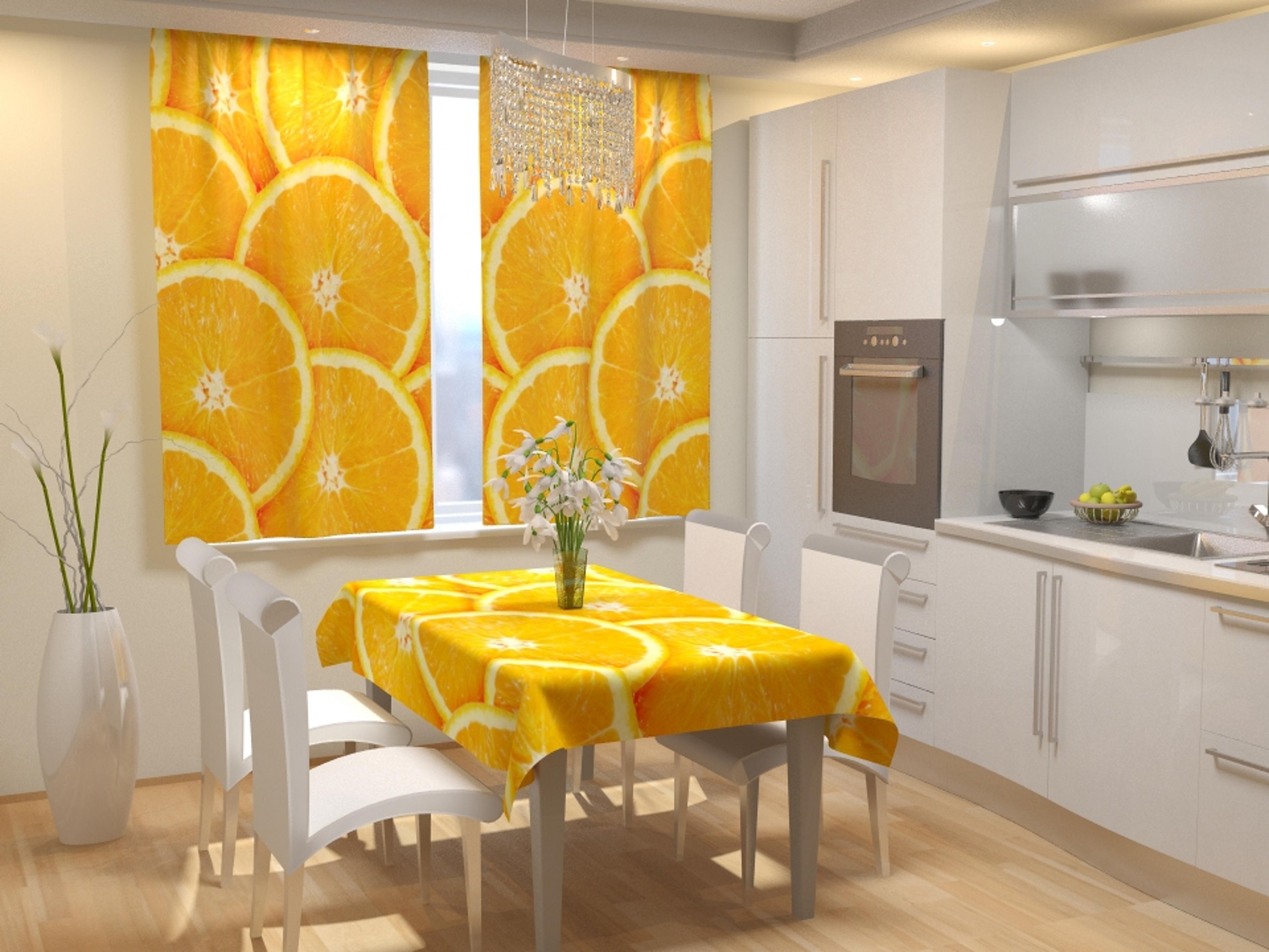 Купить Шторы Eleganta, Фотошторы для кухни Апельсиновое Настроение, Китай, Габардин