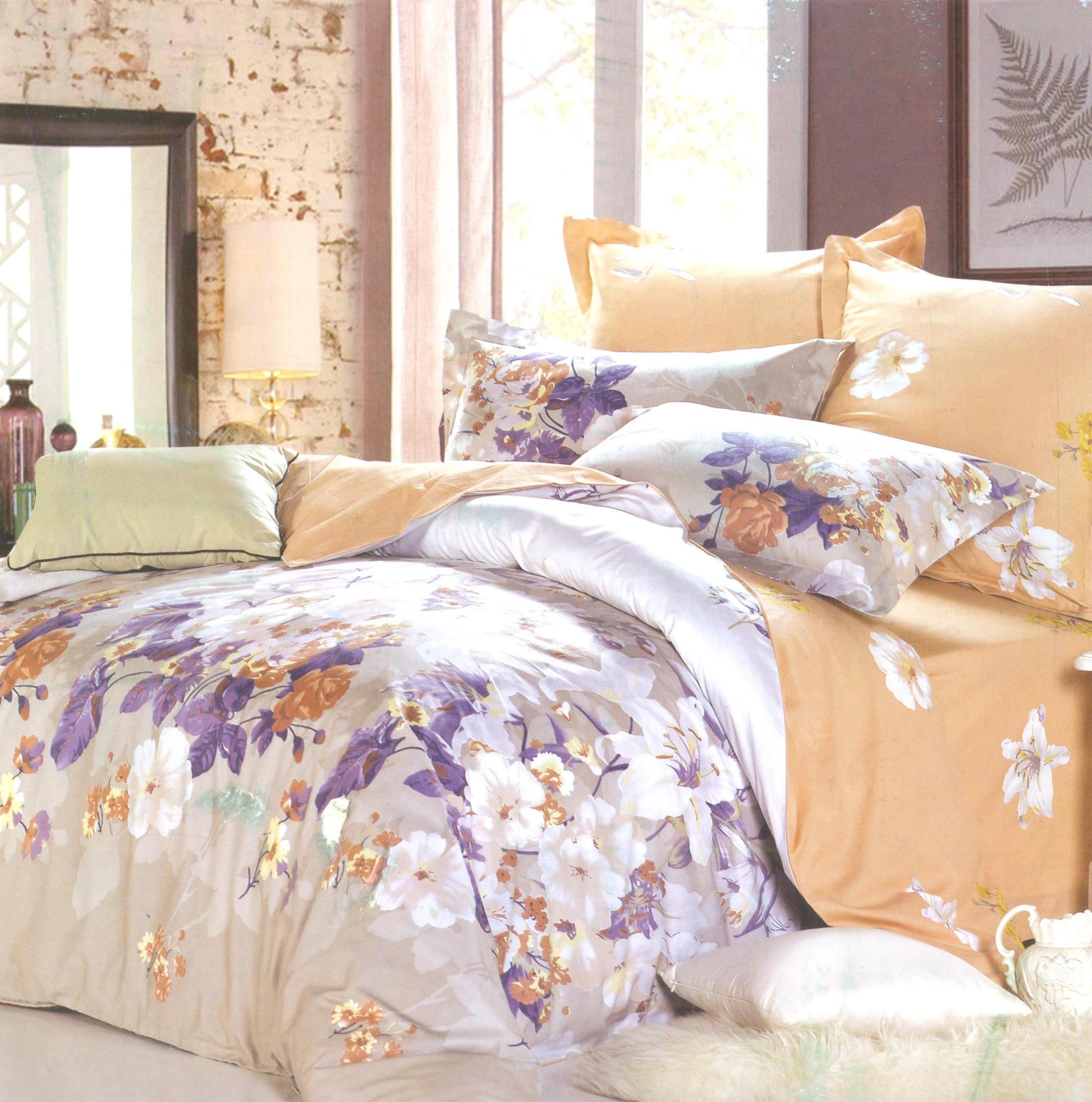 Купить Комплекты постельного белья СайлиД, Постельное белье Riko B-145 (семейное), Китай, Кремовый, Хлопковый сатин