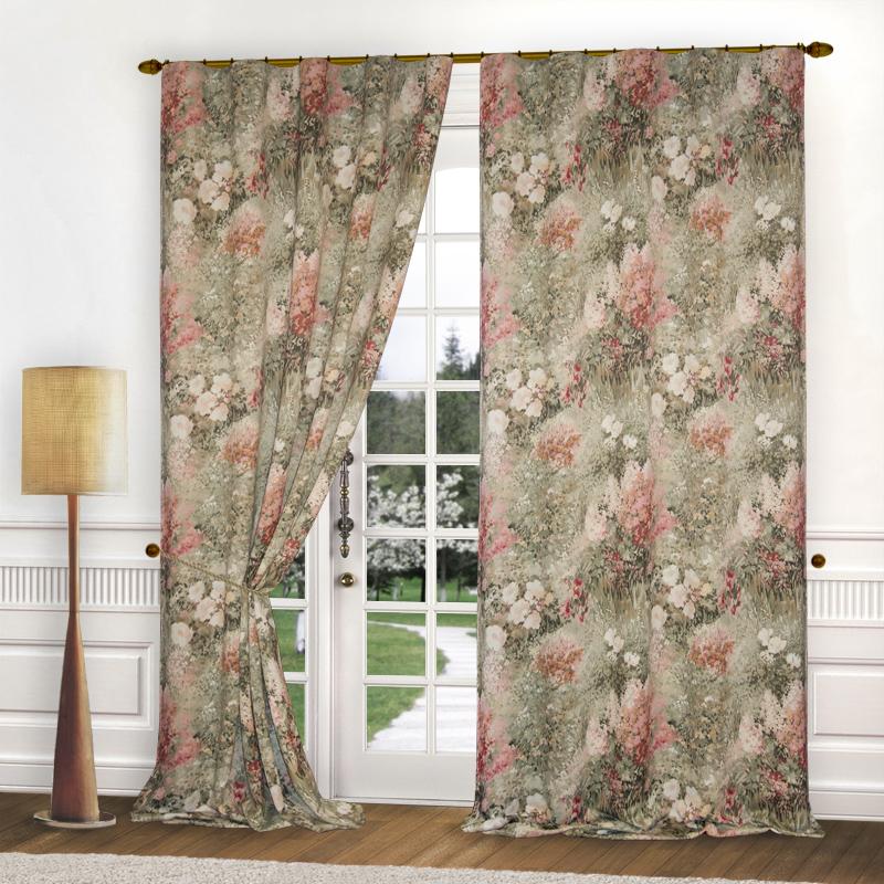 Купить Шторы Elegante, Классические шторы Темная Акварель, Китай, Зеленый, Персиковый, Розовый, Blackout