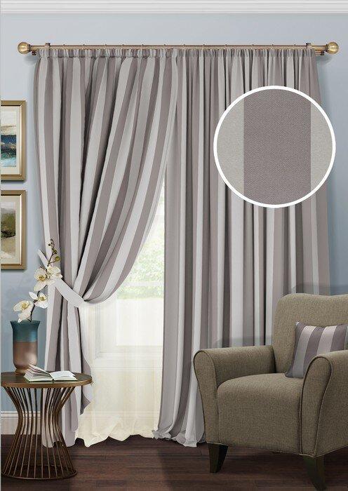 Купить Шторы Kauffort, Классические шторы Blackout-SH Цвет: Серый, Молочный, Россия, Blackout, Полуорганза