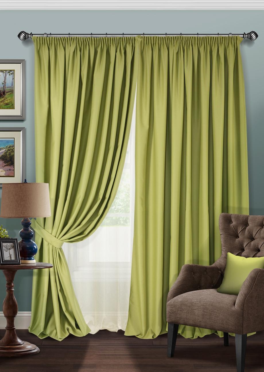 Купить Шторы Kauffort, Классические шторы Blackout-SH Цвет: Зеленый, Молочный, Россия, Blackout, Полуорганза