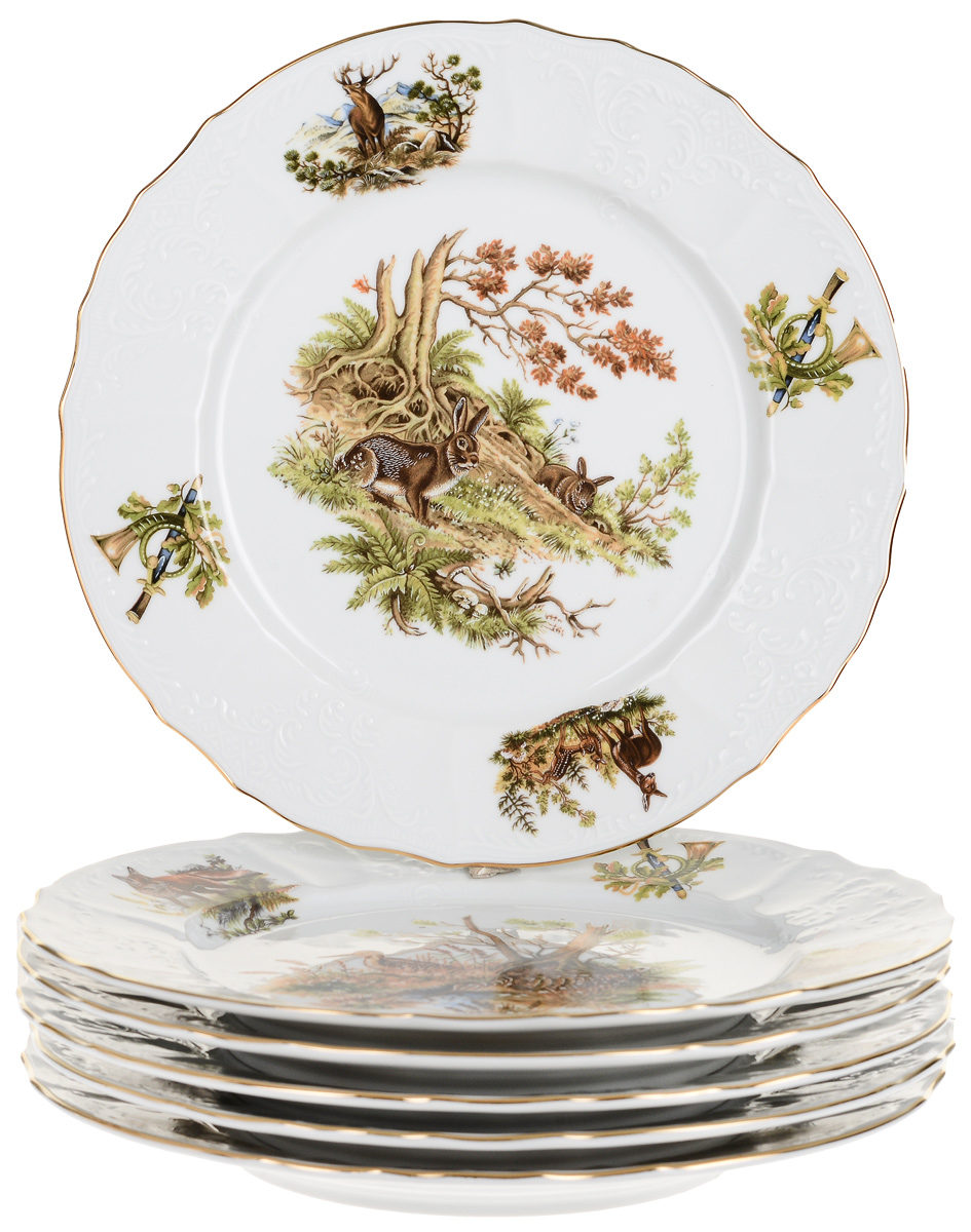 Тарелка мелкая Охотничьи сюжеты (25 см - 6 шт) Thun 1794 a.s. thu770048