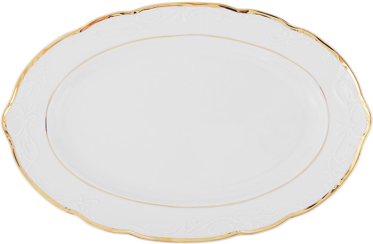 Блюдо овальное Белоснежный тюльпан. Золото (36 см) Thun 1794 a.s. thu770644