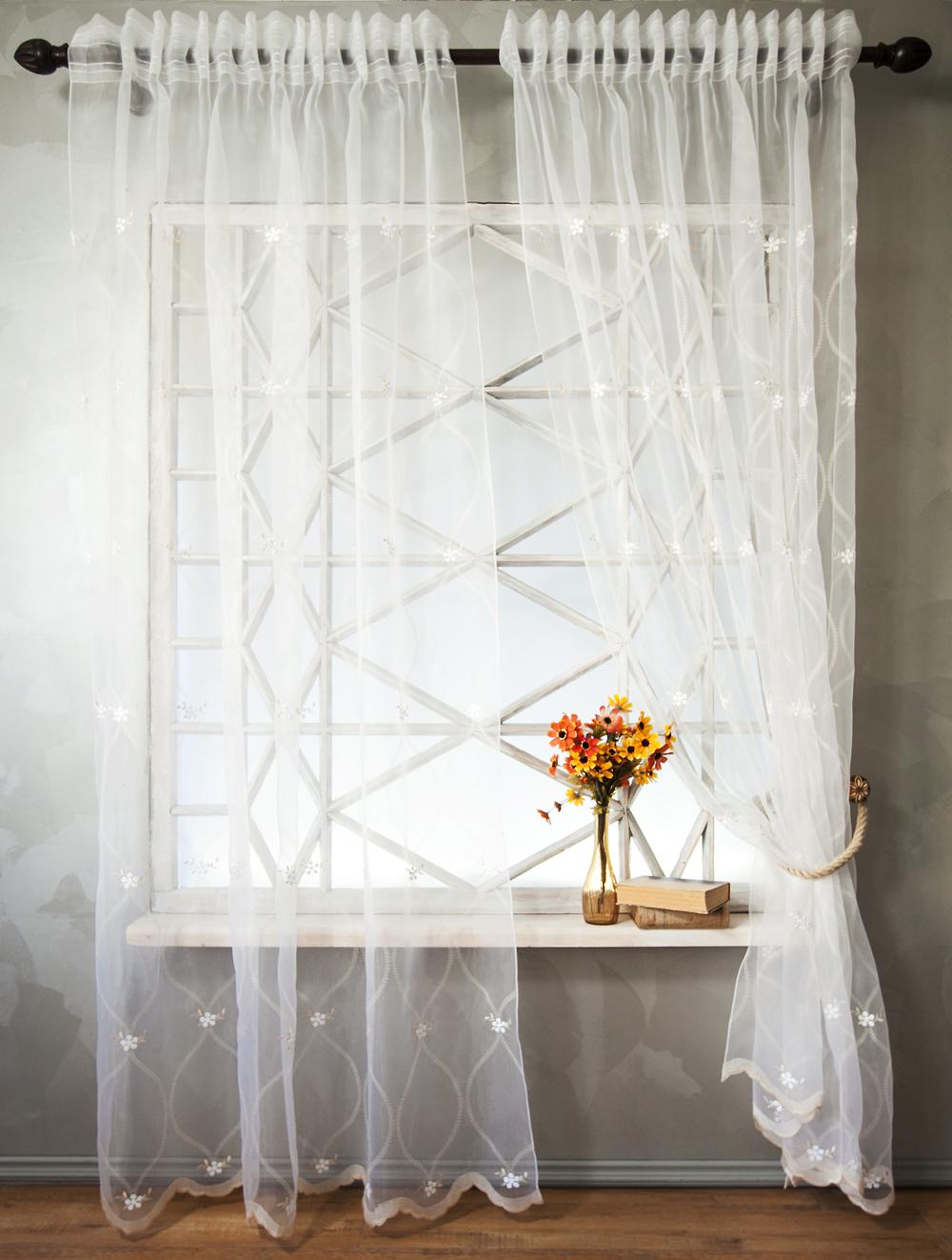 Купить Шторы PASIONARIA, Классические шторы Christel Цвет: Белый, Россия, Органза