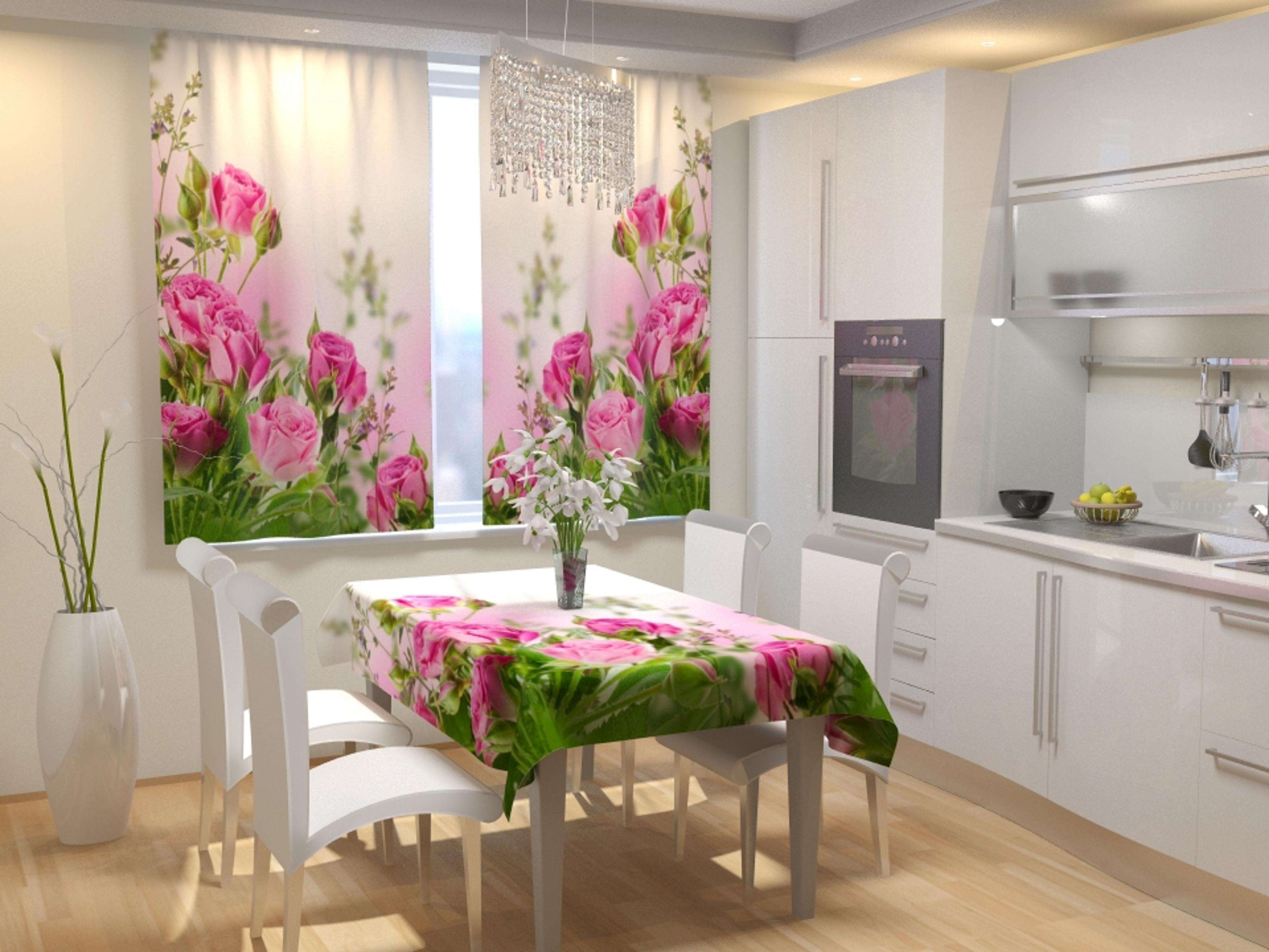 Купить Шторы Eleganta, Фотошторы для кухни Маленькие Розочки, Китай, Габардин