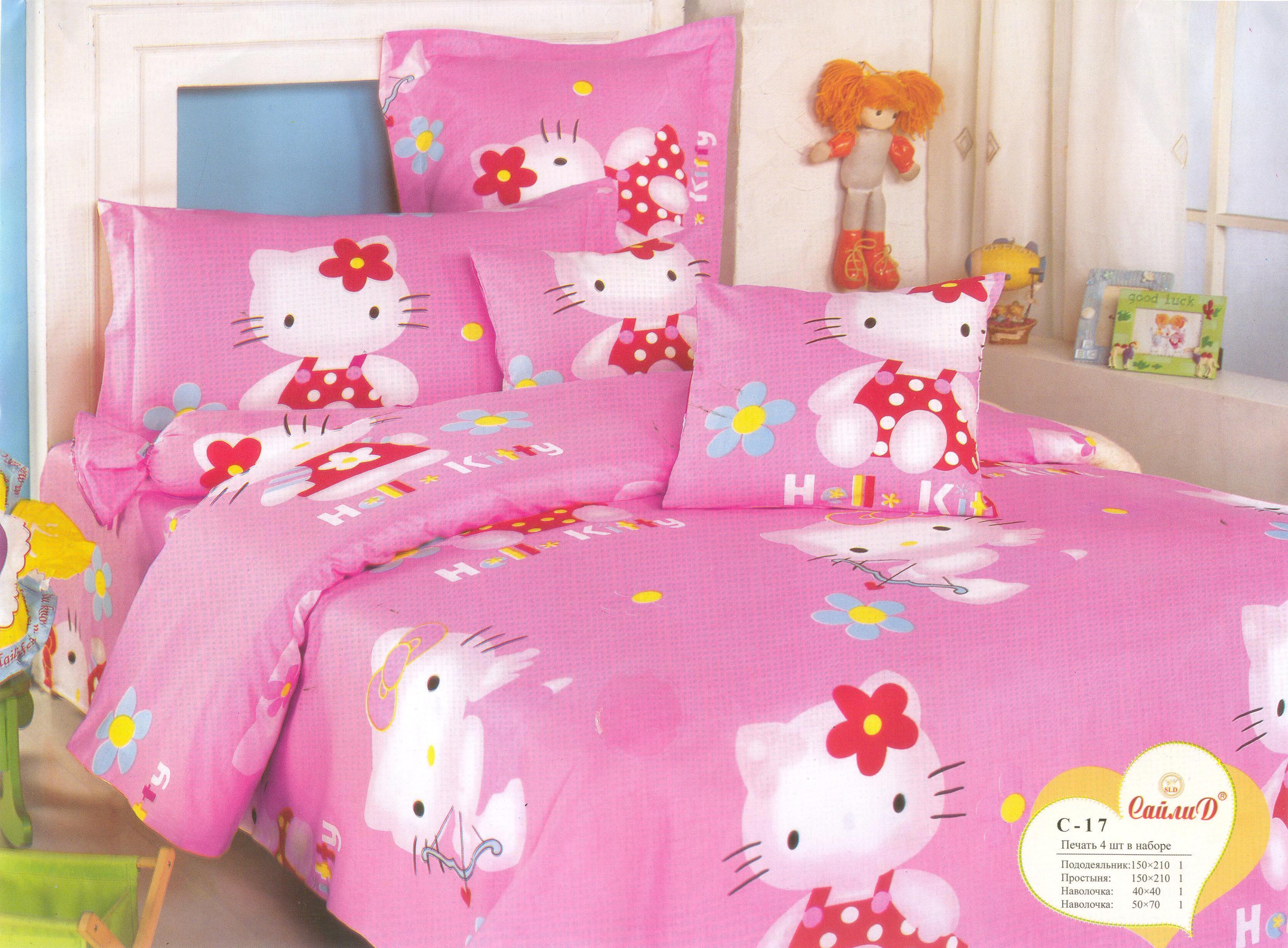 Купить Детское постельное белье СайлиД, Постельное белье Hello Kitty С-17 (1, 5 сп.), Китай, Розовый, Поплин