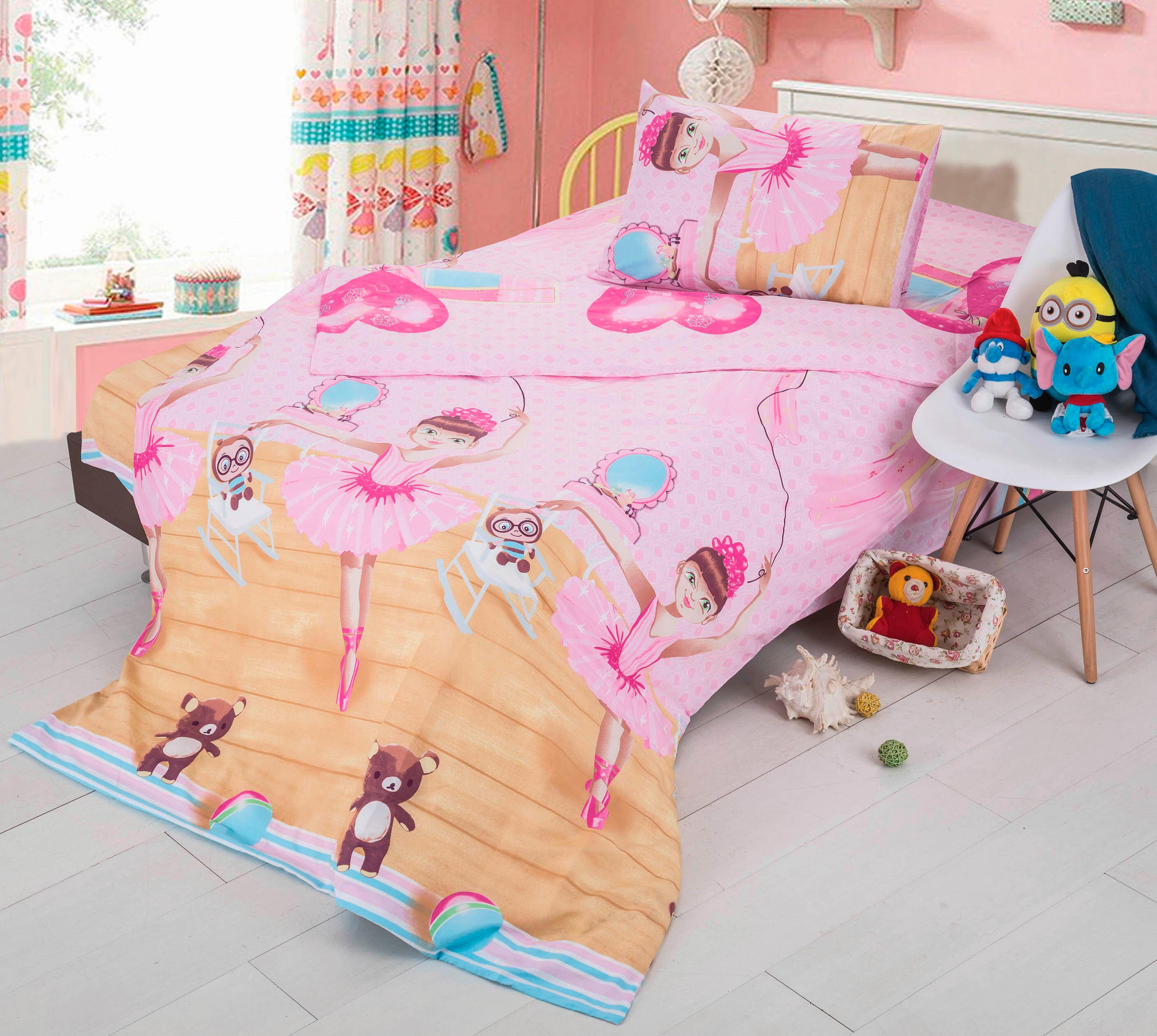 Купить Детское постельное белье СайлиД, Детское Постельное белье Balerina C-71 (150х210 см), Китай, Оранжевый, Розовый, Поплин