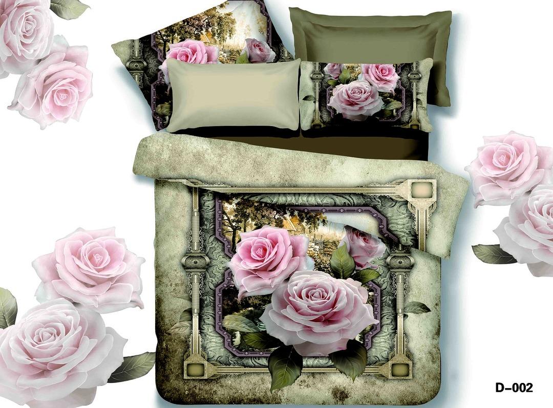 Купить Комплекты постельного белья Mioletto, Постельное белье Rylee (2 сп. евро), Китай, Зеленый, Розовый, Хлопковый сатин