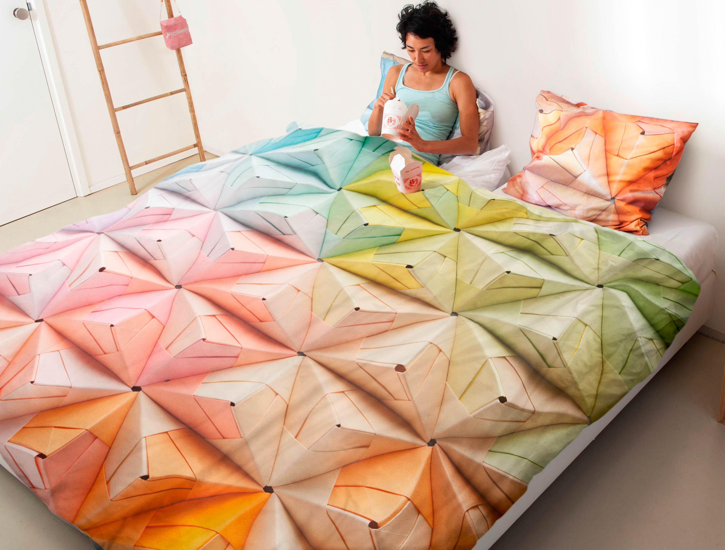 Купить Комплекты постельного белья Snurk, Постельное белье Origami (150х200 см), Нидерланды, Голубой, Зеленый, Оранжевый, Розовый, Перкаль