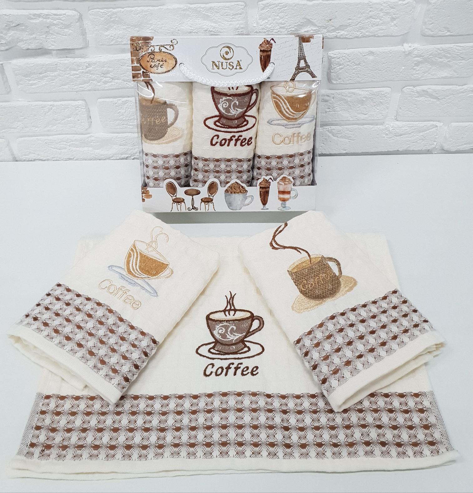 Купить Полотенца Nusa, Кухонное полотенце Кофе (35х50 см - 3 шт), Турция, Вафля