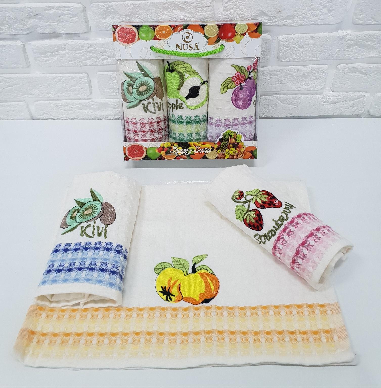 Купить Полотенца Nusa, Кухонное полотенце Фрукты (35х50 см - 3 шт), Турция, Вафля
