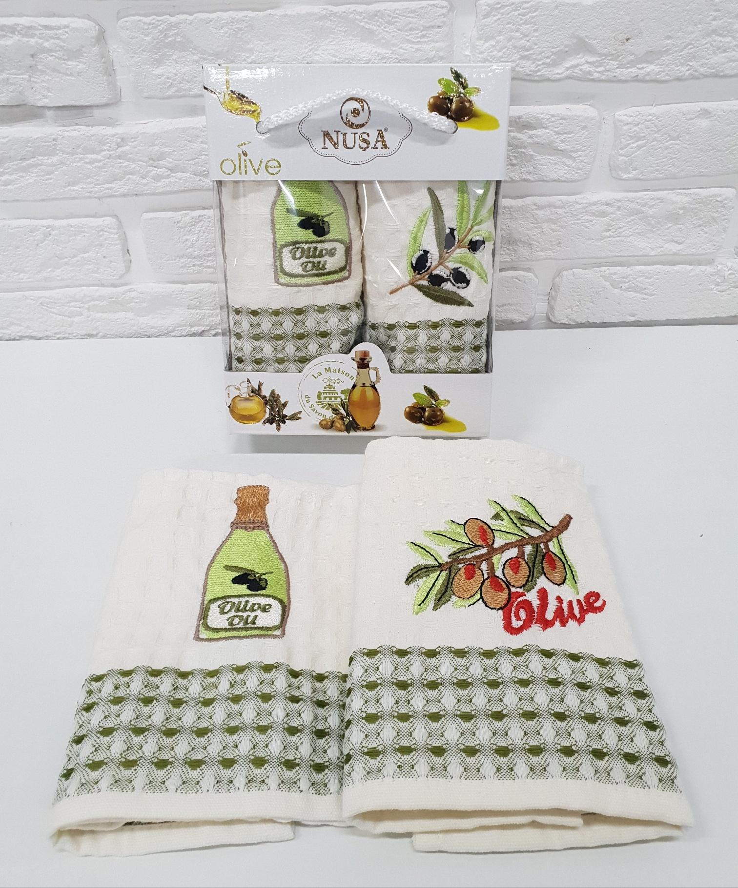 Купить Полотенца Nusa, Кухонное полотенце Оливки (35х50 см - 2 шт), Турция, Вафля