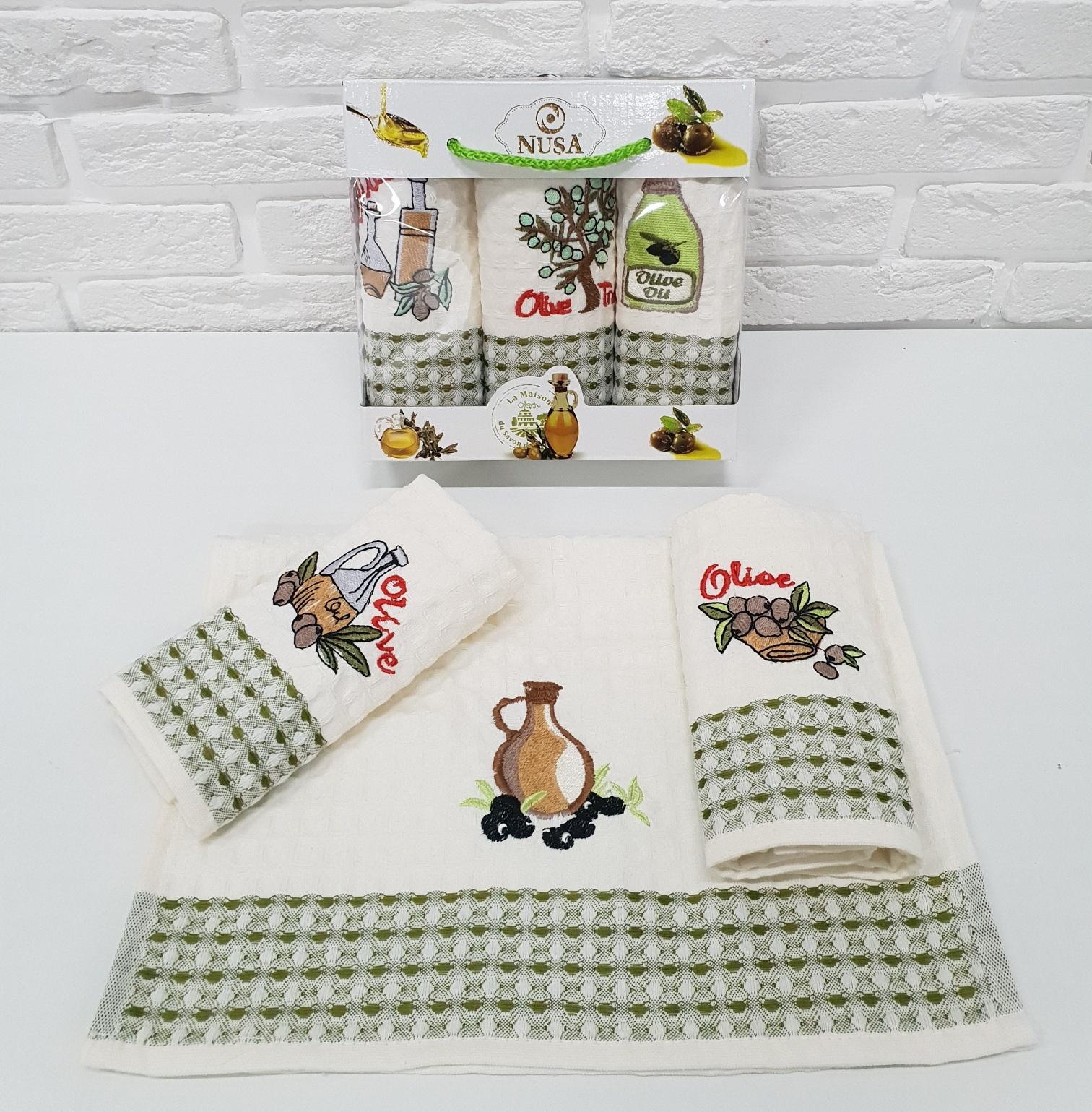 Купить Полотенца Nusa, Кухонное полотенце Оливки (35х50 см - 3 шт), Турция, Вафля