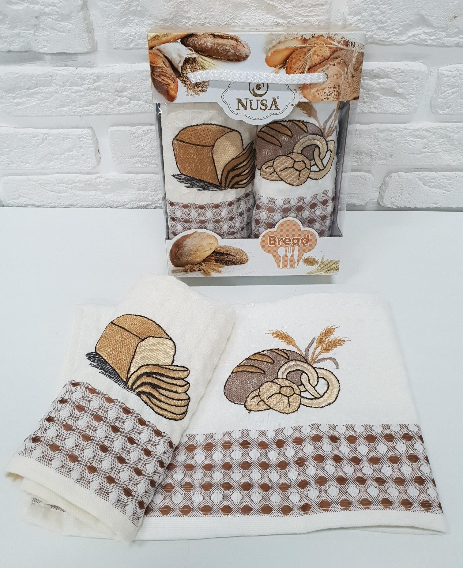 Купить Полотенца Nusa, Кухонное полотенце Хлеб (35х50 см - 2 шт), Турция, Вафля