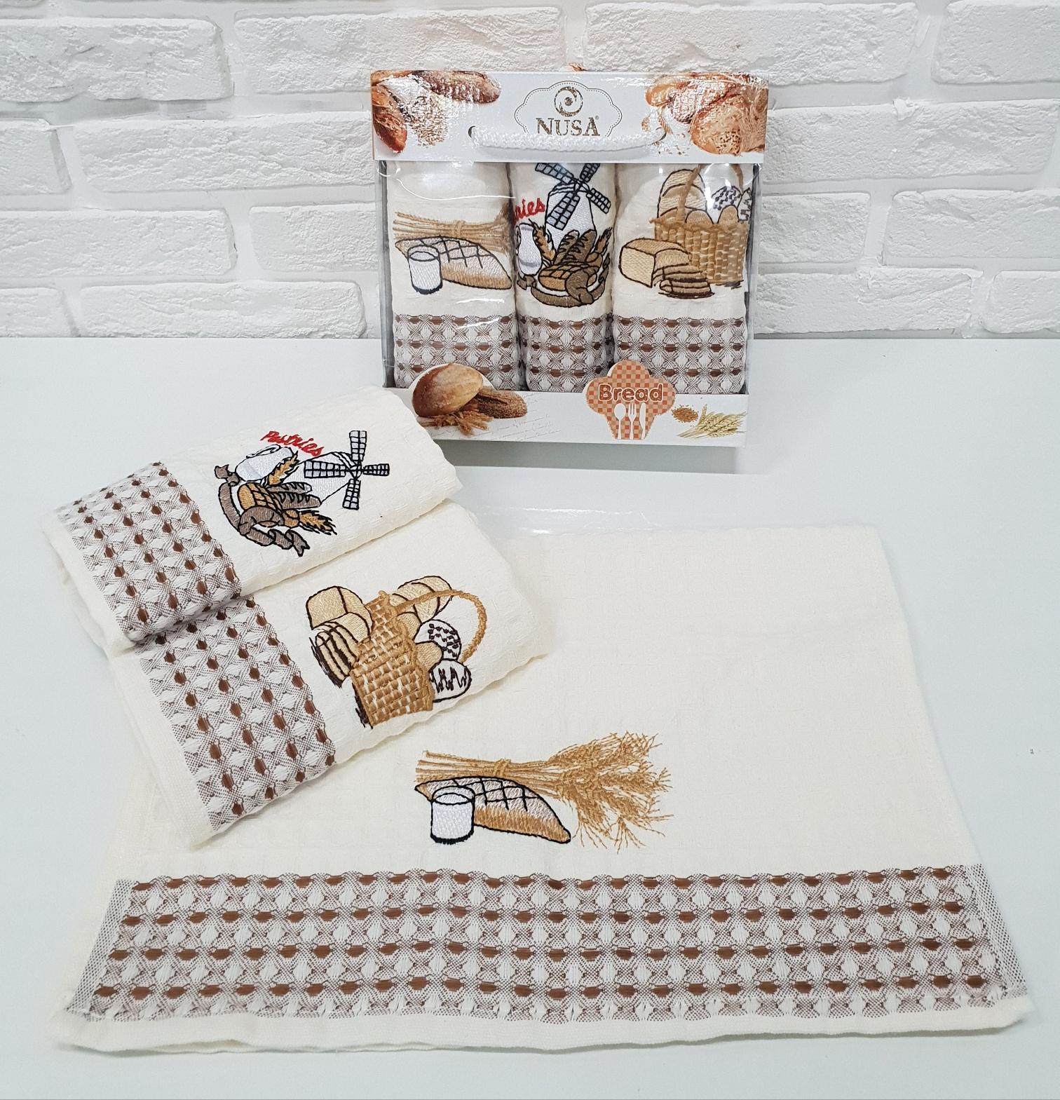 Купить Полотенца Nusa, Кухонное полотенце Хлеб (35х50 см - 3 шт), Турция, Вафля