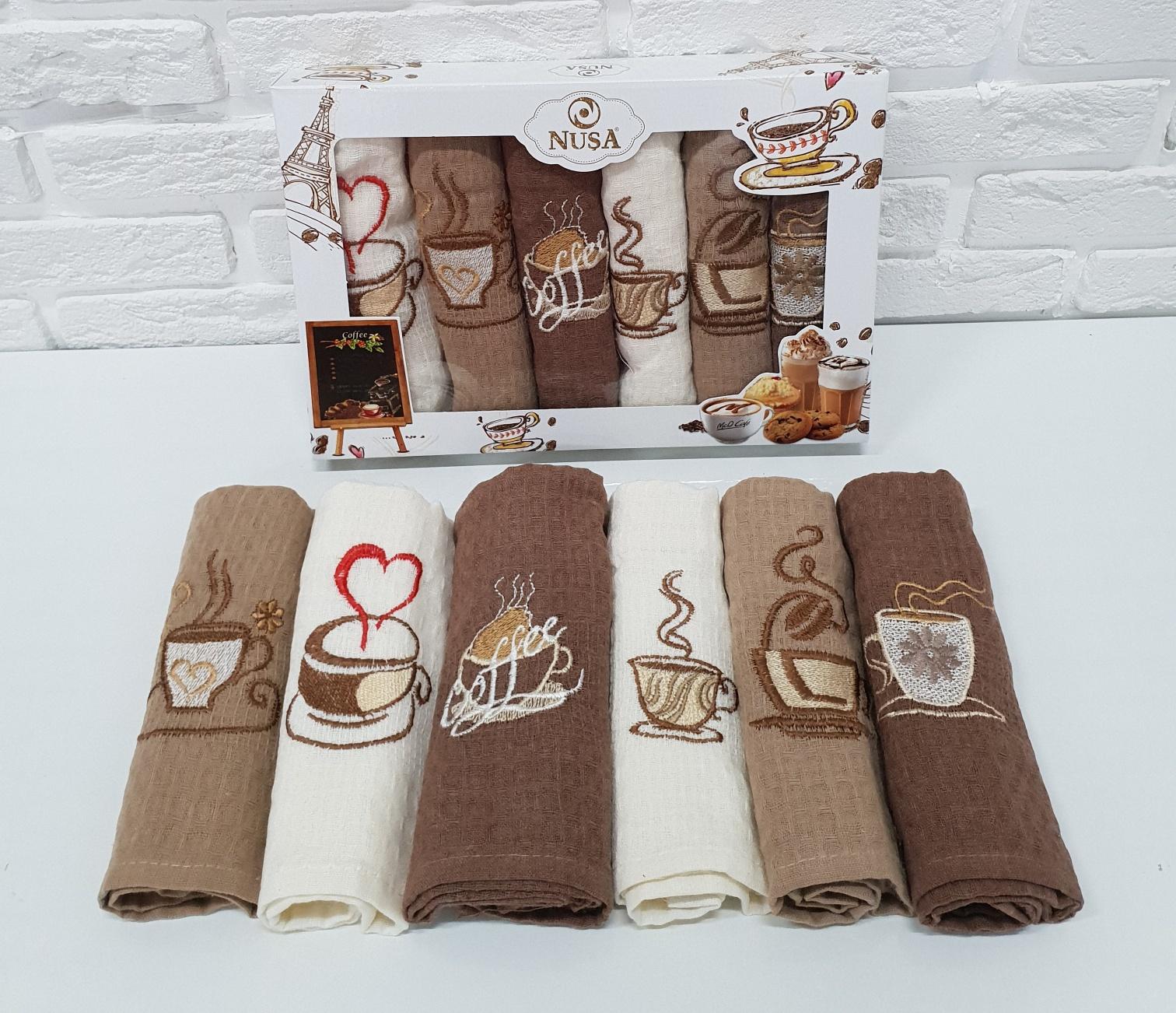 Купить Полотенца Nusa, Кухонное полотенце Кофе (40х60 см - 6 шт), Турция, Вафля