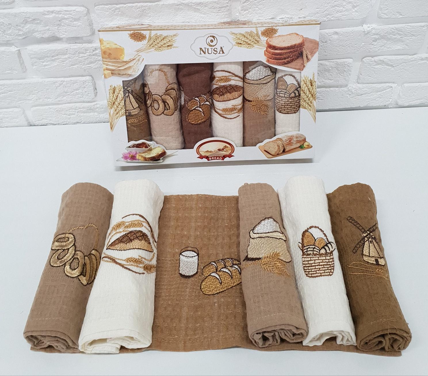 Купить Полотенца Nusa, Кухонное полотенце Хлеб (40х60 см - 6 шт), Турция, Вафля