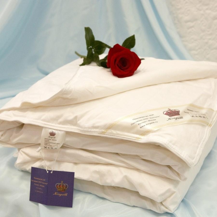 Купить Одеяла KingSilk, Одеяло Elisabette Classic ВсесезонноеЦвет: Белый(200х220 см), Китай, Хлопковый страйп-сатин