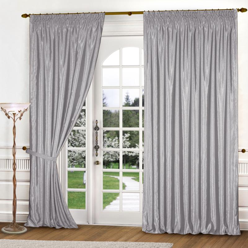 Купить Шторы Elegante, Классические шторы Шелковый Блеск Цвет: Светло-Серый, Россия, Атлас