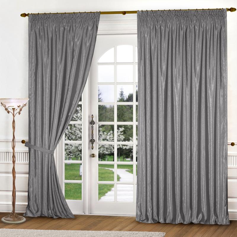 Купить Шторы Elegante, Классические шторы Шелковый Блеск Цвет: Стальной, Китай, Серый, Атлас