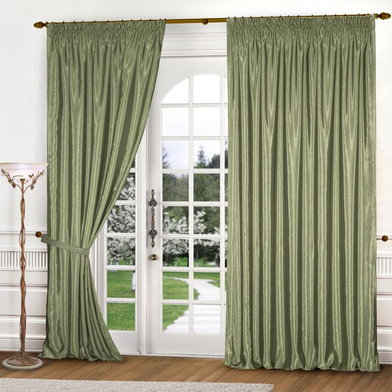 Шторы Elegante, Классические шторы Yvette Цвет: Оливковый, Россия, Атлас  - Купить