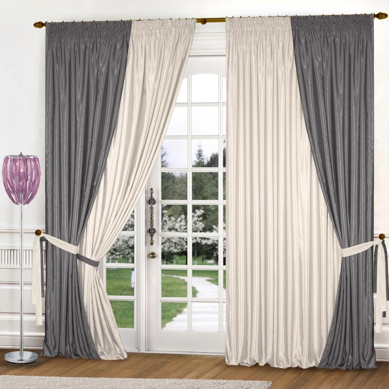 Купить Шторы Elegante, Классические шторы Миллениум Цвет: Молочный, Стальной, Китай, Бежевый, Серый, Атлас