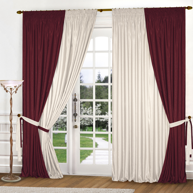 Купить Шторы Elegante, Классические шторы Nettie Цвет: Бордовый, Молочный, Китай, Бежевый, Бордовый, Атлас