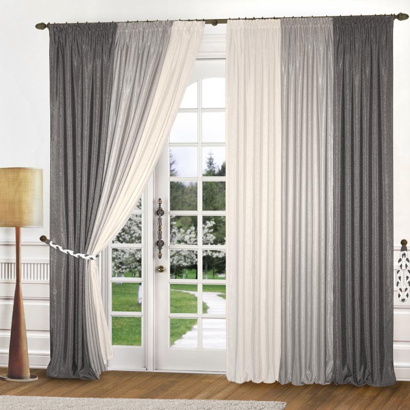 Купить Шторы Elegante, Классические шторы Радуга Цвет: Оттенки Серого, Китай, Серый, Атлас