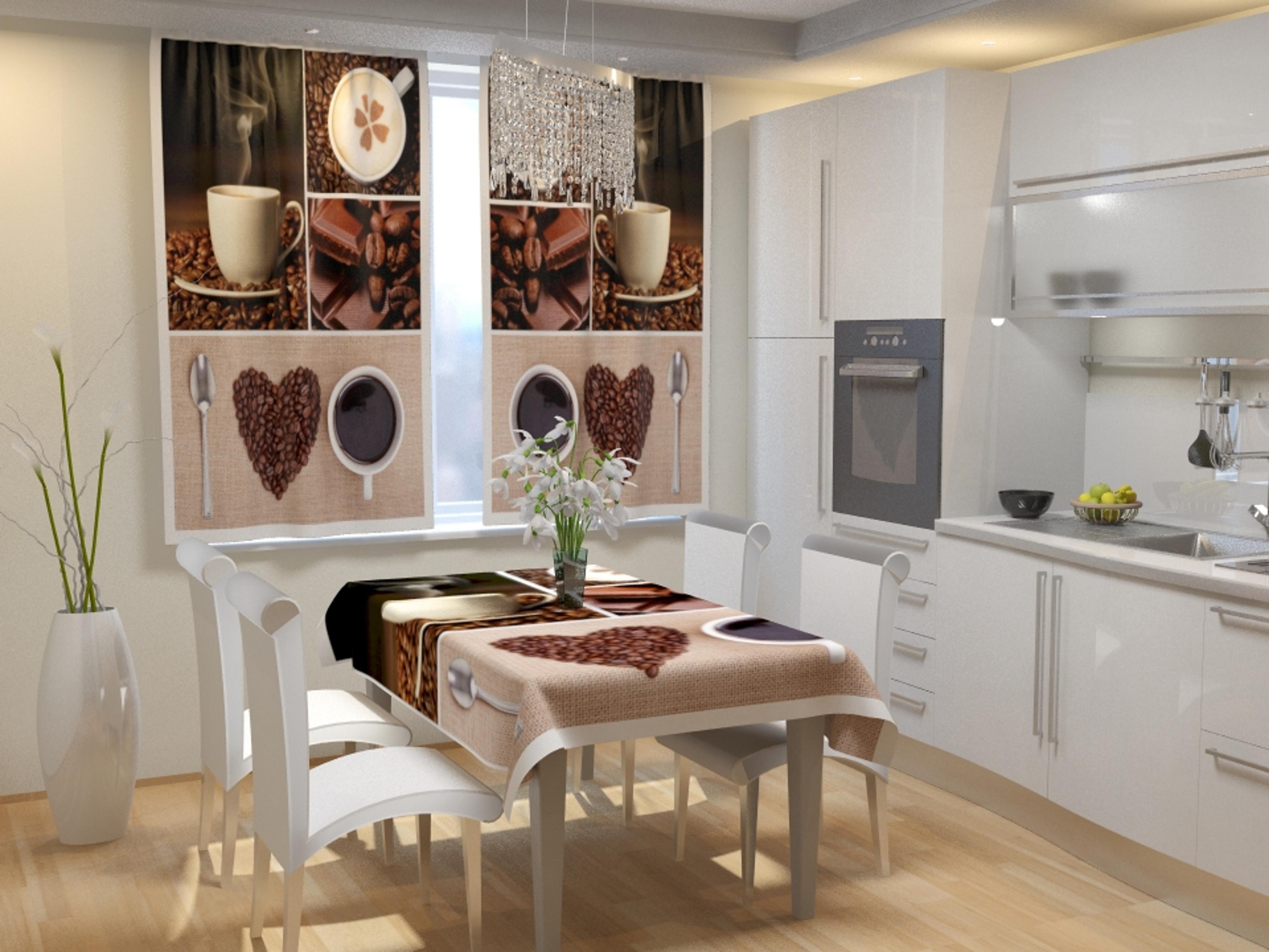 Купить Шторы Eleganta, Фотошторы для кухни Аромат Кофе, Китай, Габардин