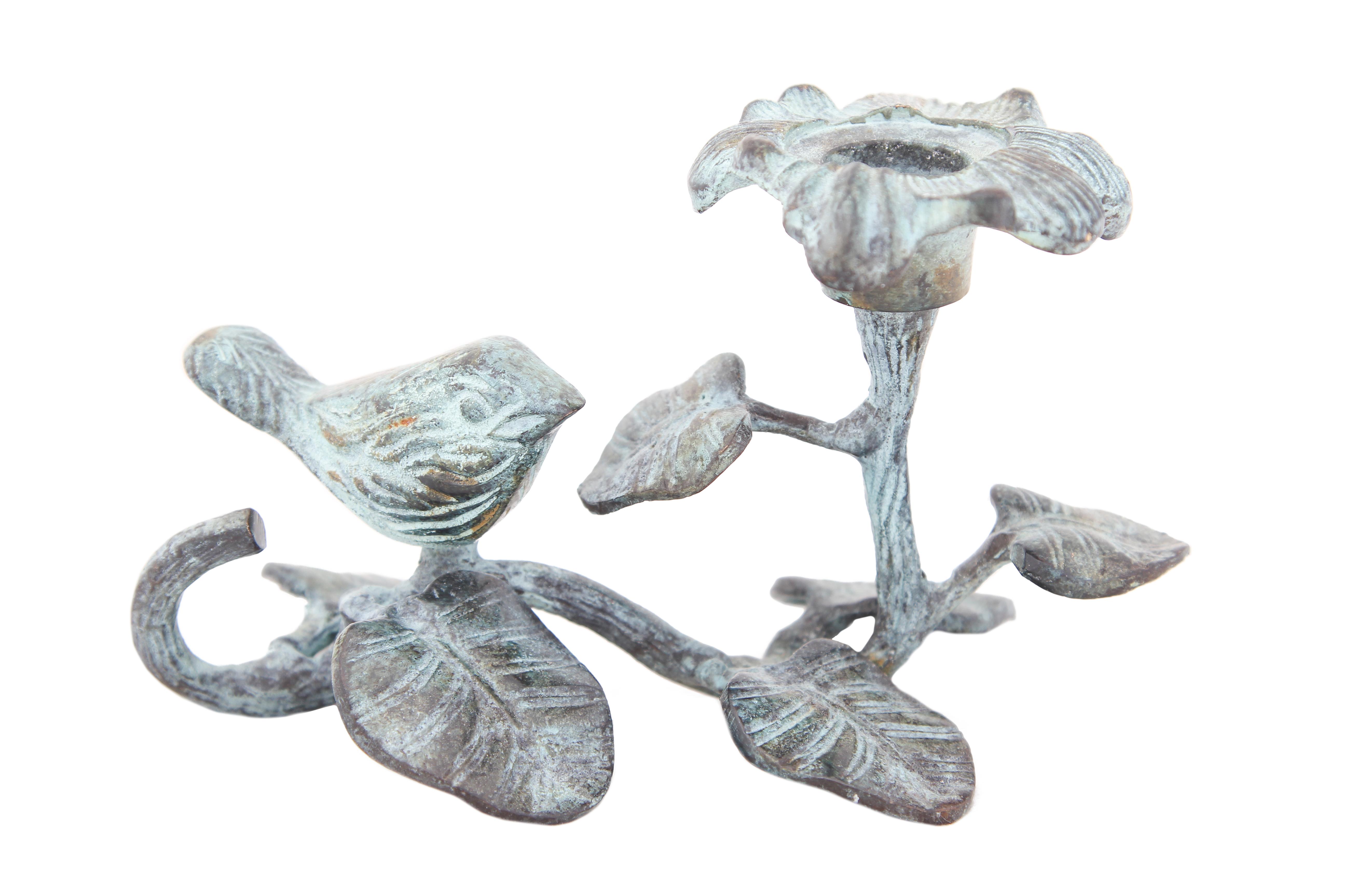 Купить Декоративные свечи Ганг, Подсвечник Цветок (6х10х16 см), Индия, Голубой, Латунь