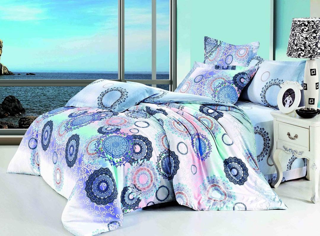 Купить Комплекты постельного белья Mioletto, Постельное белье Alisia (2 сп. евро), Китай, Голубой, Розовый, Сиреневый, Хлопковый сатин