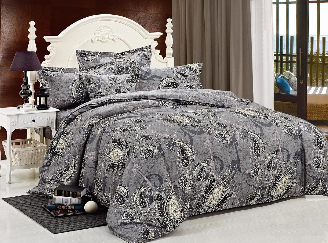 Купить Комплекты постельного белья Mioletto, Постельное белье Priscilla (1, 5 спал.), Китай, Серый, Хлопковый сатин