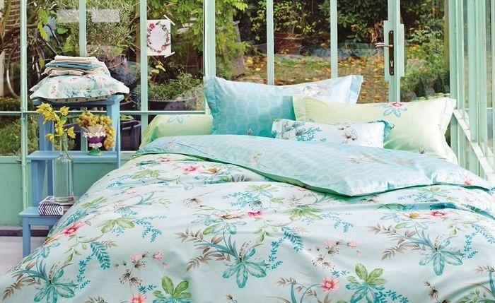Купить Комплекты постельного белья Mioletto, Постельное белье Norah (1, 5 спал.), Китай, Голубой, Зеленый, Хлопковый сатин
