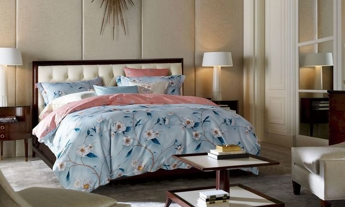 Купить Комплекты постельного белья Mioletto, Постельное белье Betony (2 сп. евро), Китай, Голубой, Розовый, Хлопковый сатин